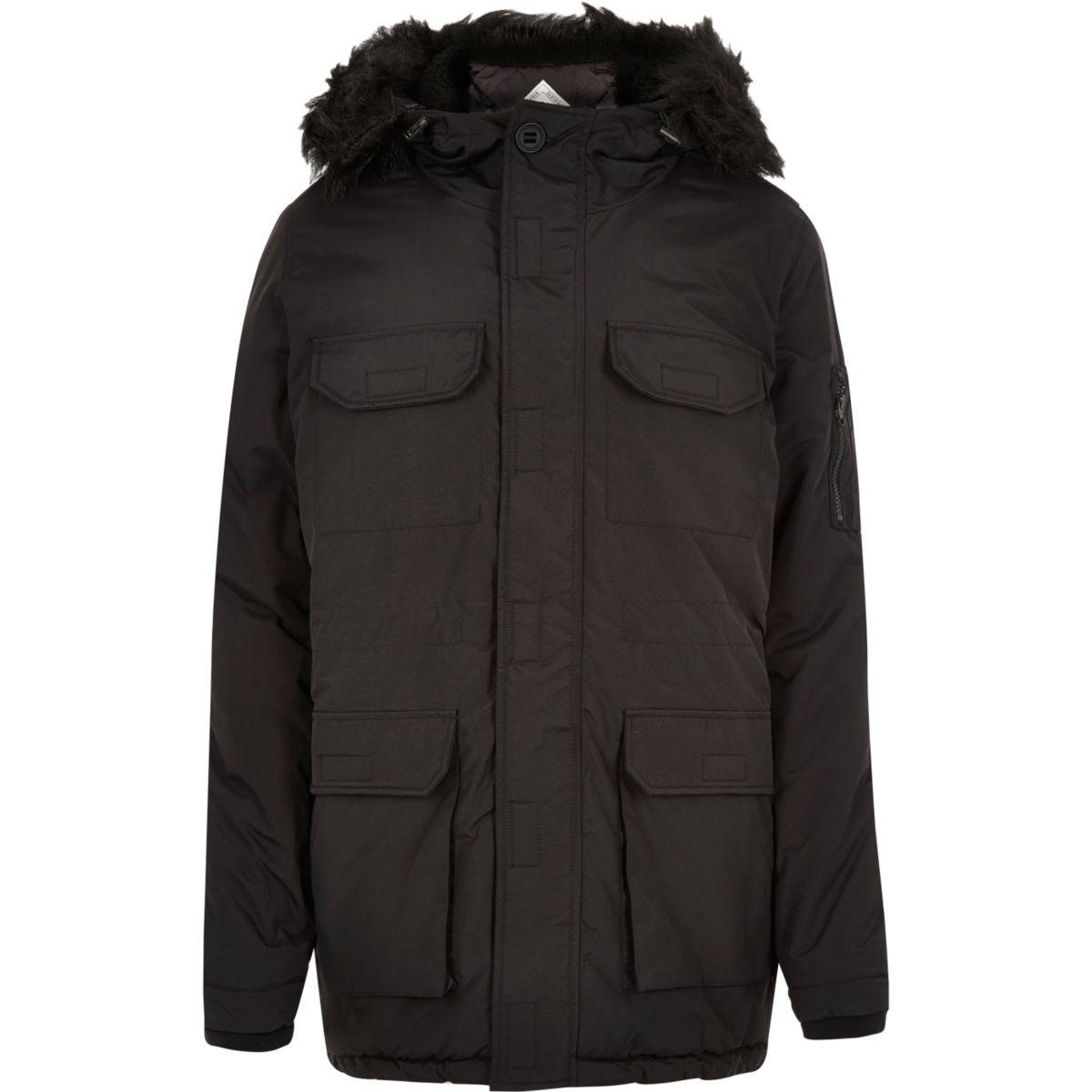 Black Bellfield faux fur parka winter coat