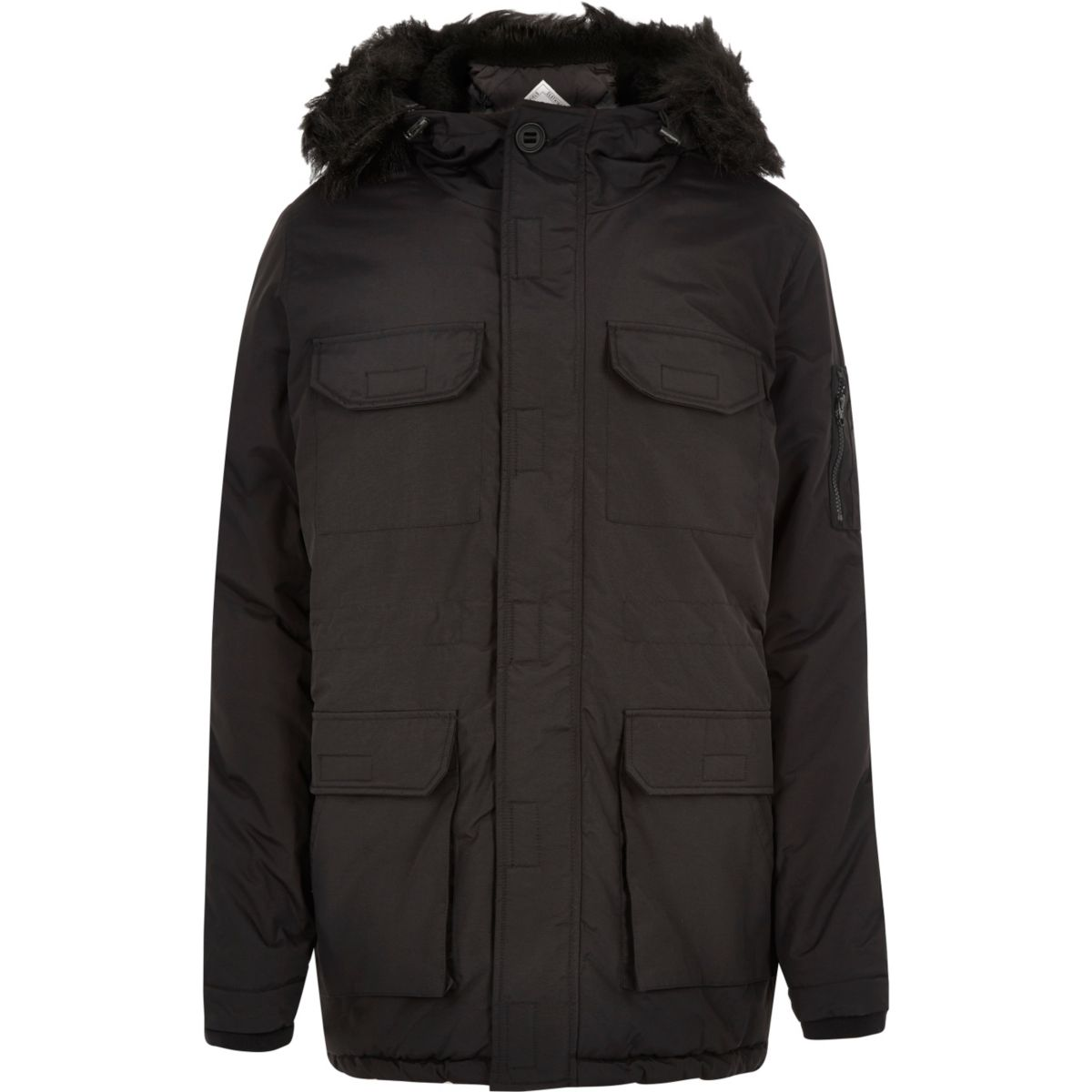 Black Bellfield faux fur parka winter coat
