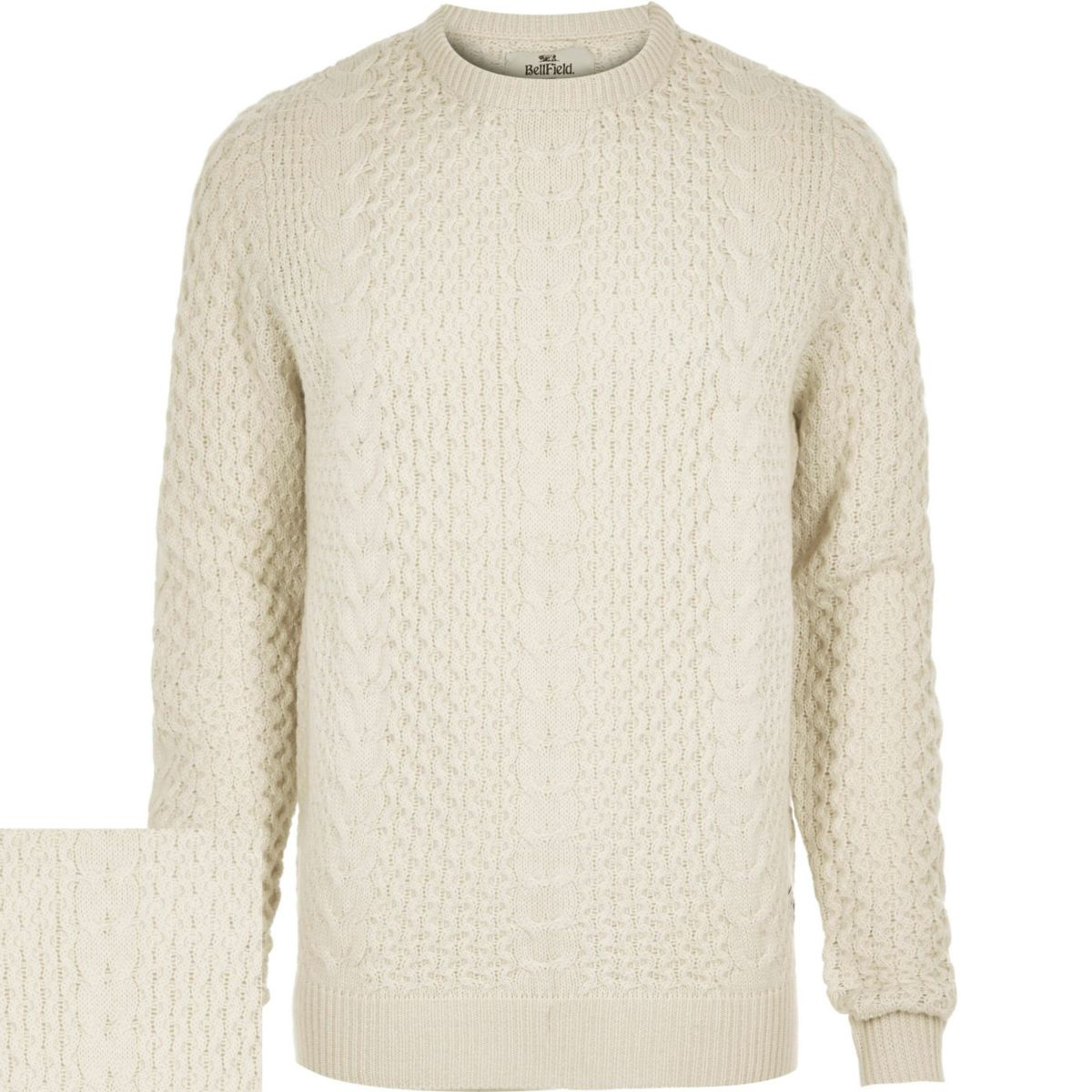 Cream Bellfield cable knit jumper