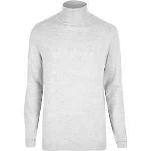 Light grey roll neck sweater