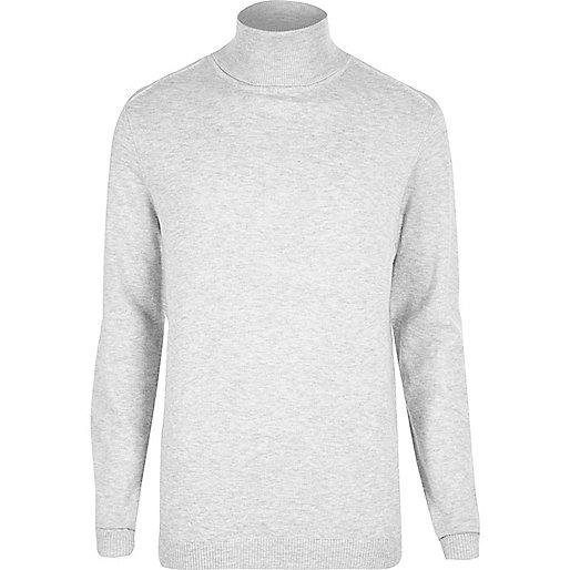 Light grey roll neck jumper