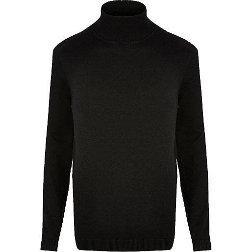 Black roll neck jumper