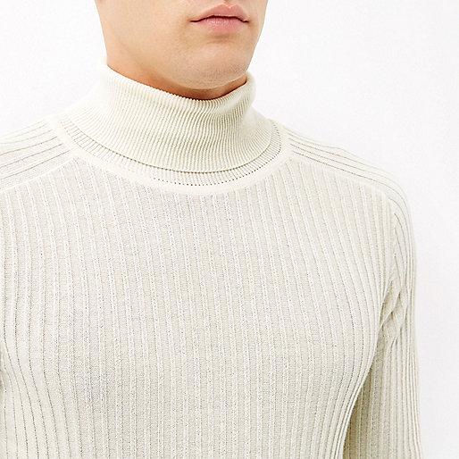 Ecru ribbed roll neck sweater