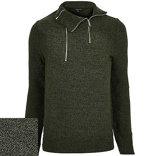Dark green funnel neck sweater