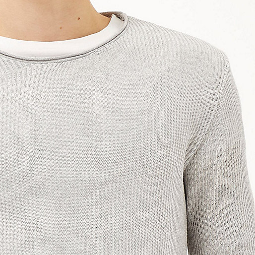 Grey lightweight plaited tunic sweater