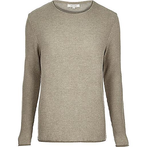 Light brown lightweight plaited tunic sweater