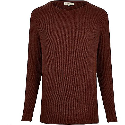Rust brown lightweight plaited tunic sweater