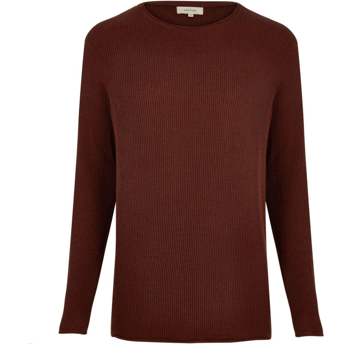 Rust brown lightweight plaited tunic jumper