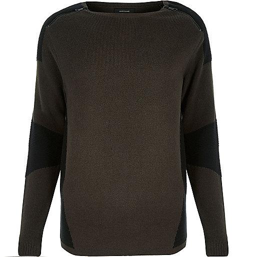 Dark green color block sweater