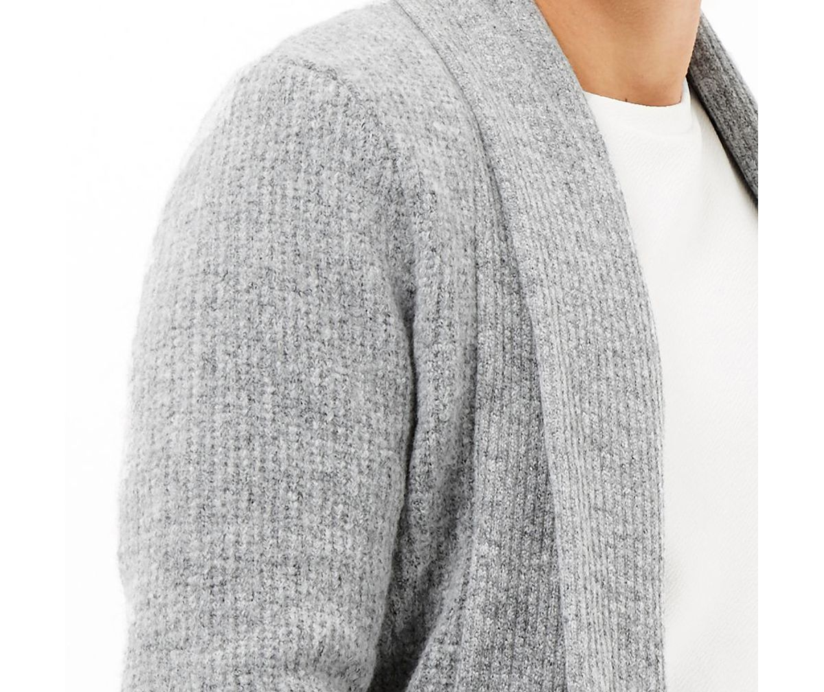 Grey wool-blend longline open cardigan - Sweaters & Cardigans ...