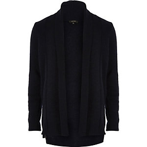 Navy wool-blend longline open cardigan