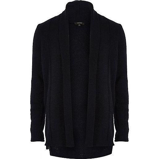 Navy wool-blend longline open cardigan