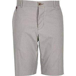 Ecru smart houndstooth print bermuda shorts