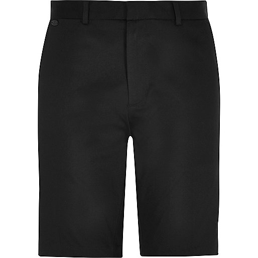 Black smart stretch knee length shorts