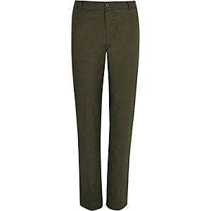 Khaki green linen-blend trousers