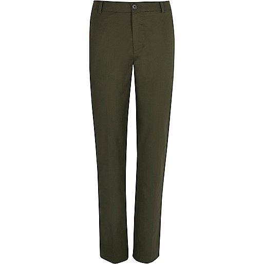 Khaki green linen-blend pants