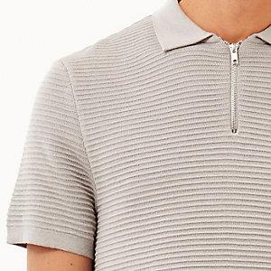 Grey zip neck ribbed polo shirt