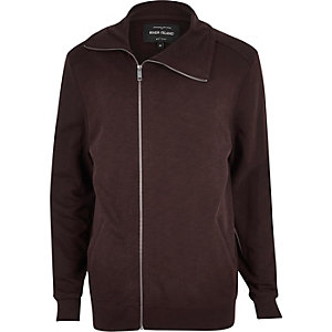 Dark red asymmetric funnel neck jacket
