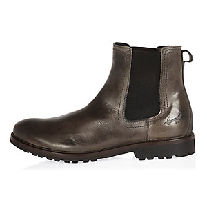 Grey leather cleated sole Chelsea boots