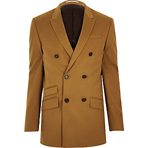 Brown double breasted slim suit jacket