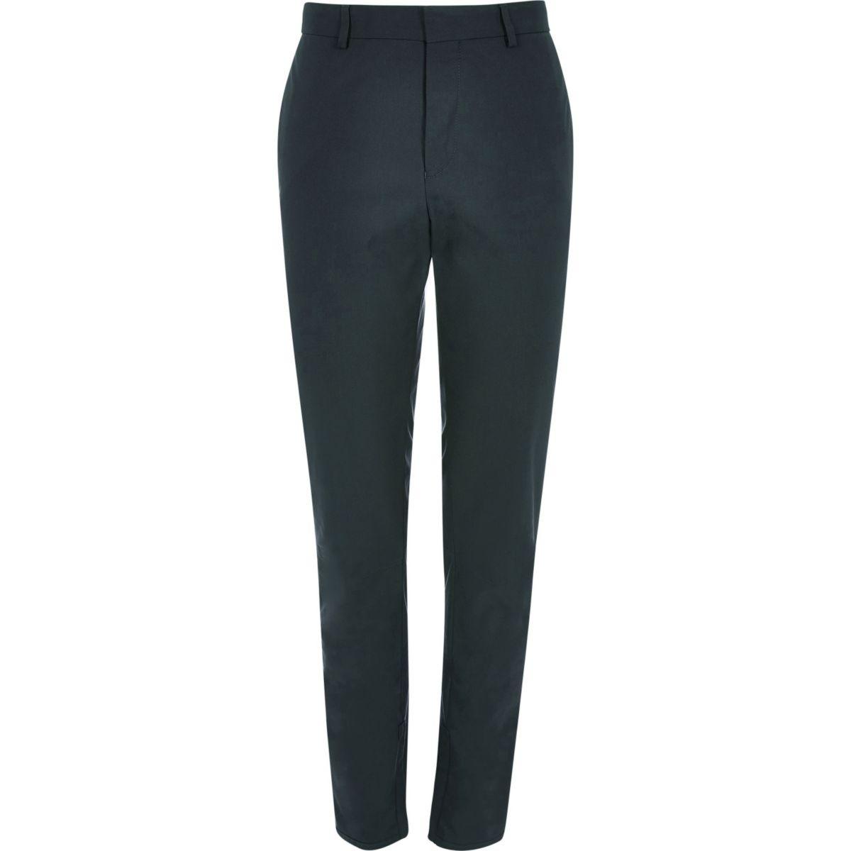 Dark green slim fit tailored pants