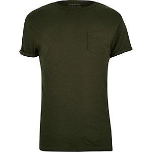 T-Shirt in Khaki mit Brusttasche