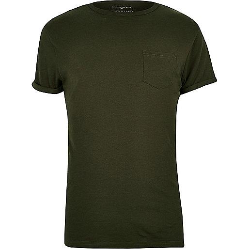 Khaki chest pocket T-shirt