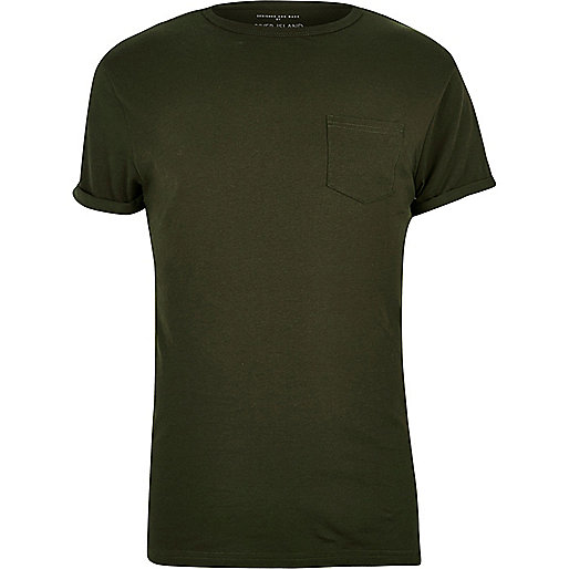 Khaki chest pocket T-shirt
