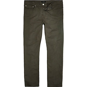 Khaki green slim fit cotton cords