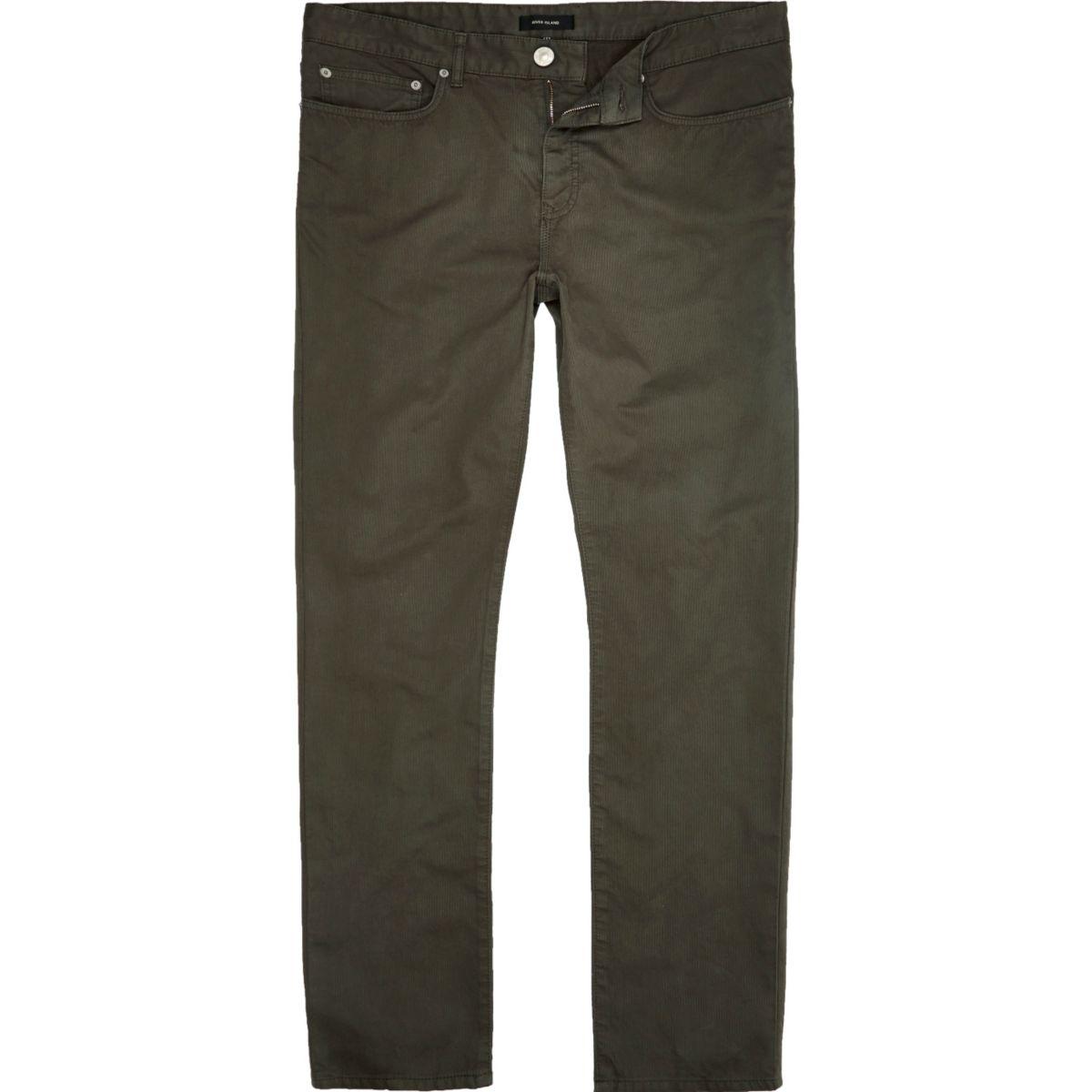 Khaki green slim fit cotton cords