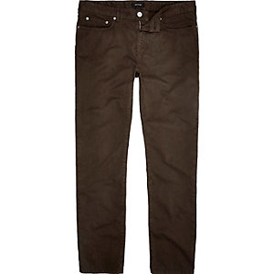 Brown slim fit cotton cords