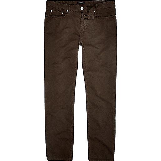 Brown slim fit cotton cords