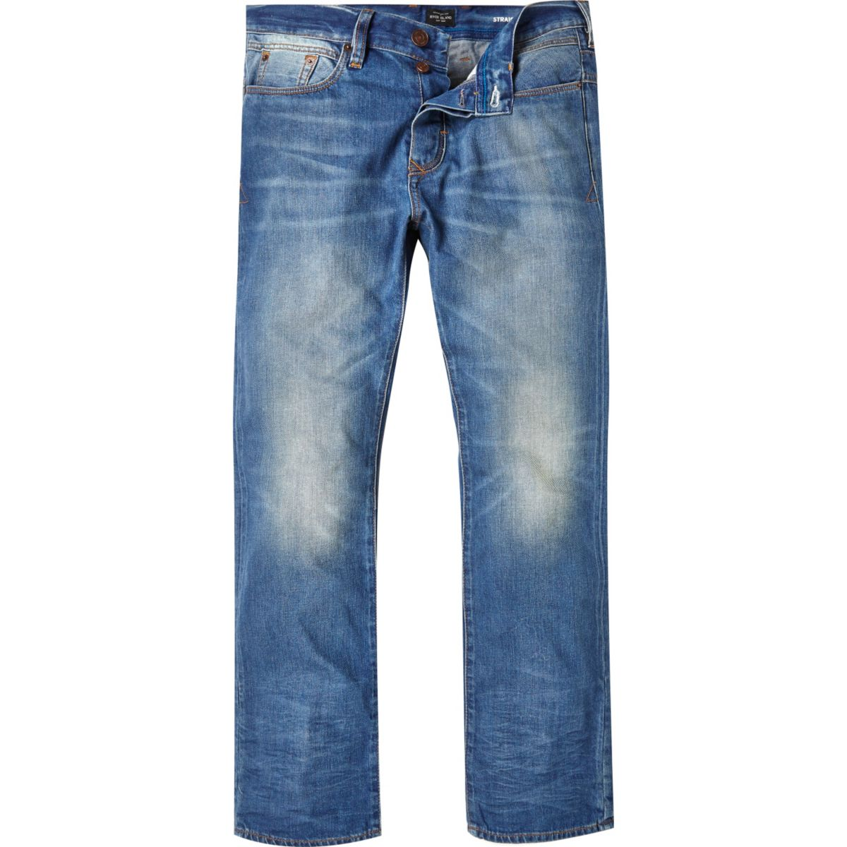 Mid blue Dean straight jeans