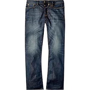Donkerblauwe wash Dean rechte jeans
