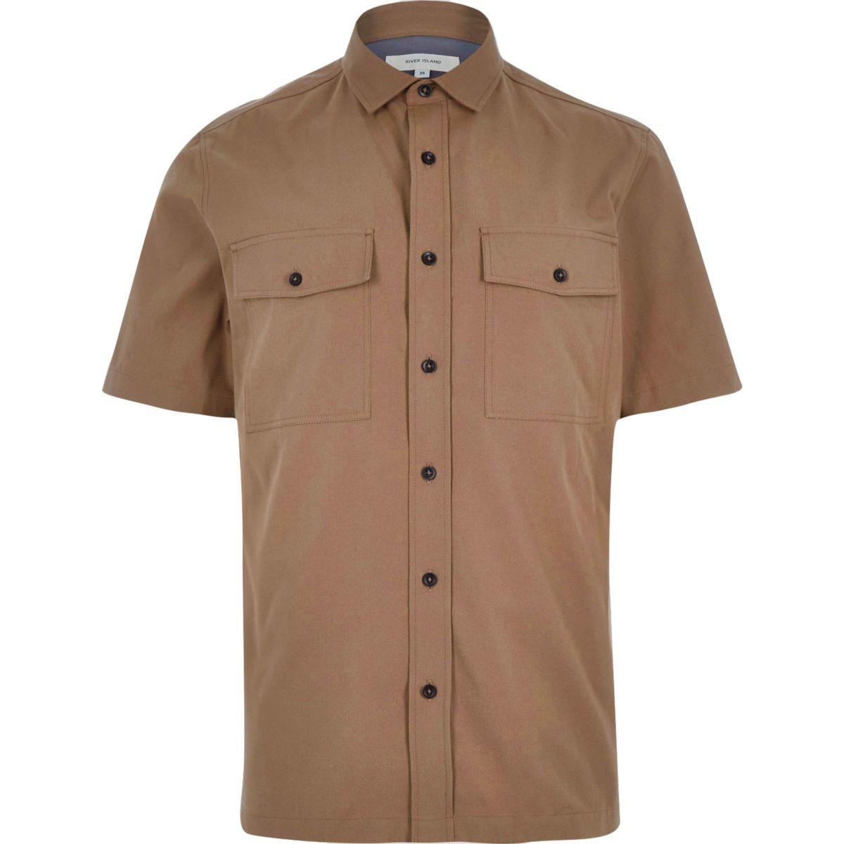 Braunes kurzärmeliges Utility-Hemd