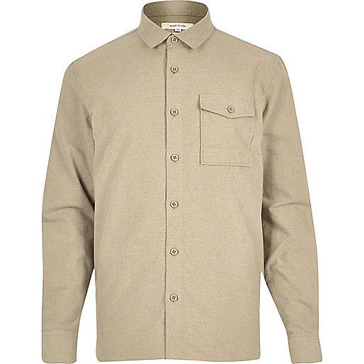 Camel flannel minimal overshirt
