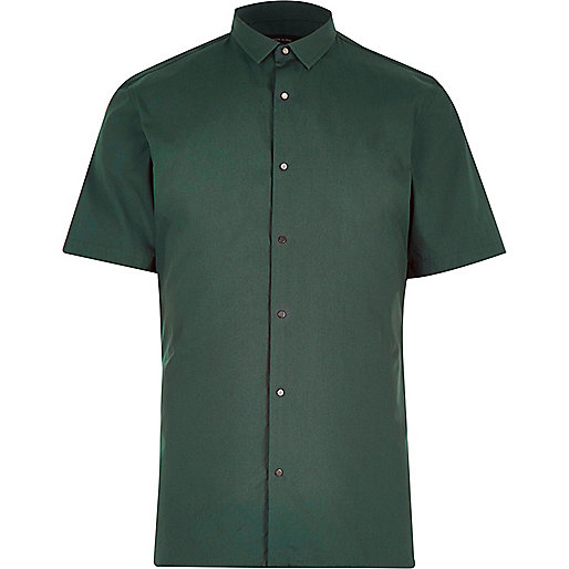 Green slim popper front slim shirt
