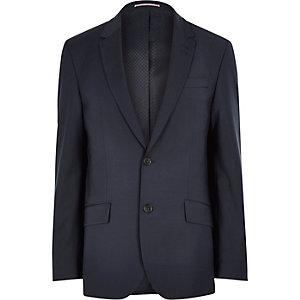 Veste de costume ajustée en laine mélangée bleu marine