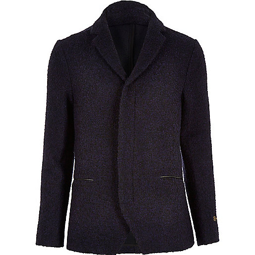 Navy boiled wool jacket