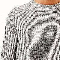 Grey marl ribbed slim fit sweater