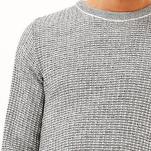 Grey marl ribbed slim fit sweater