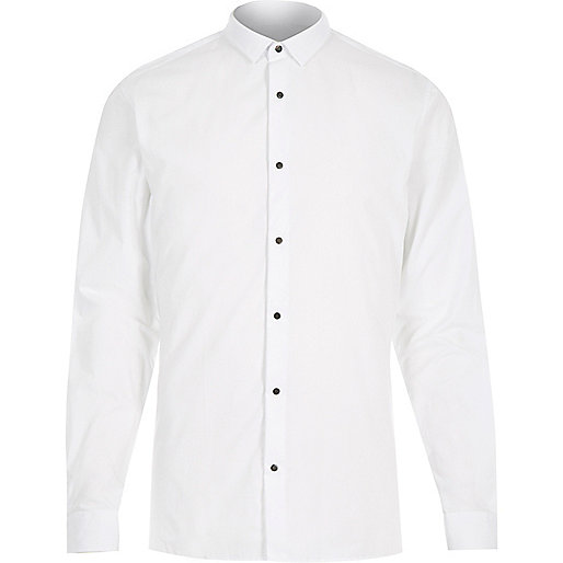 White popper slim fit shirt