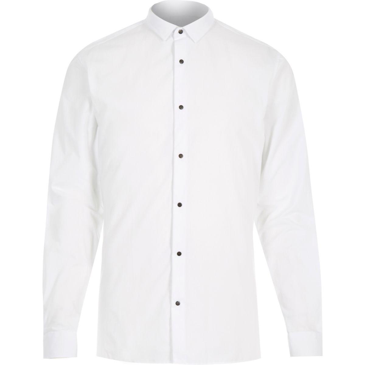 White popper slim fit shirt