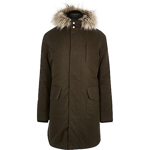 Green faux-fur trim parka coat