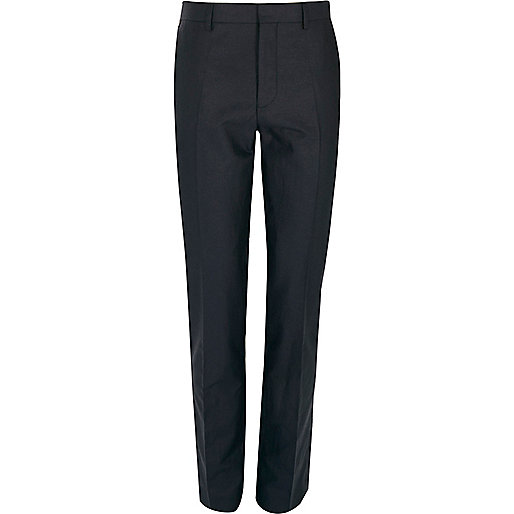 Navy linen-blend skinny suit pants