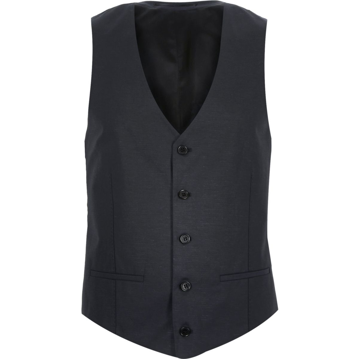 Navy linen-blend suit waistcoat