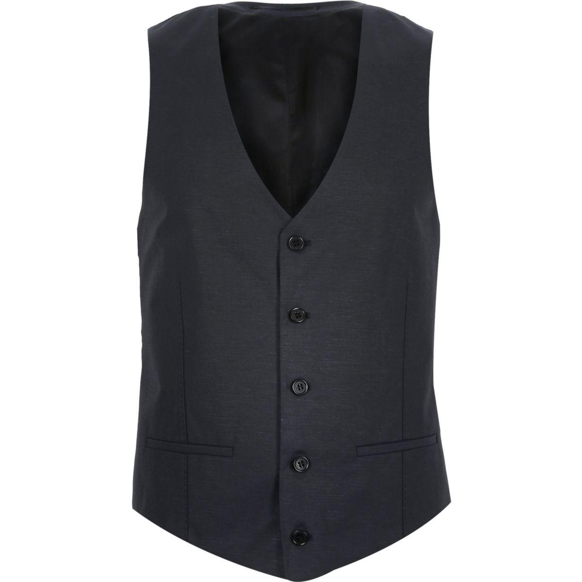 Navy linen-blend suit vest