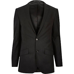 Black linen-blend skinny suit jacket