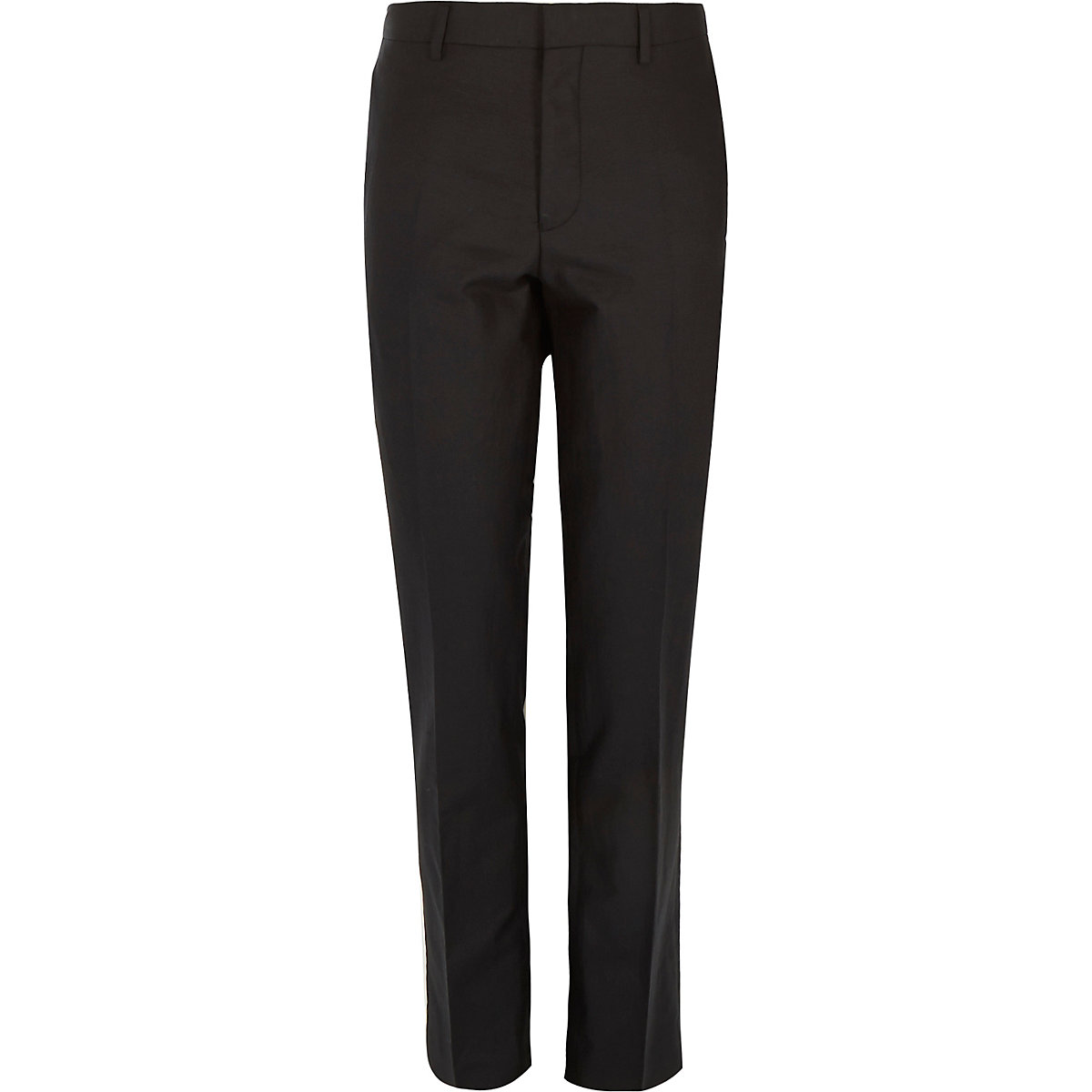 Black linen-blend skinny suit trousers