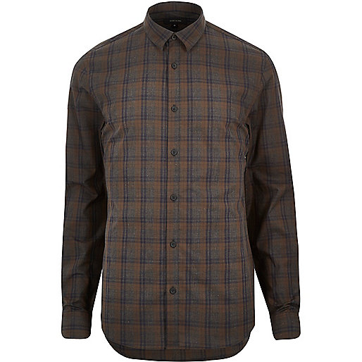 Brown check poplin slim shirt